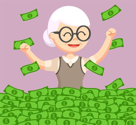 old woman enjoying her retirees money