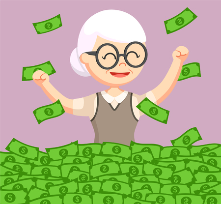 her: old woman enjoying her retirees money