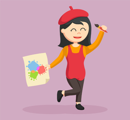 young woman legs up: woman painter happy and holding artwork Illustration