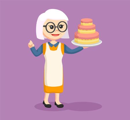big woman: old woman with big cake