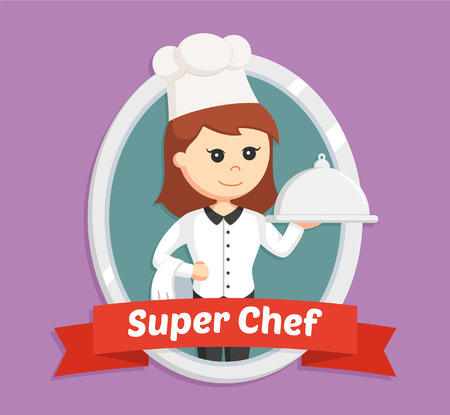 young woman legs up: chef girl in emblem