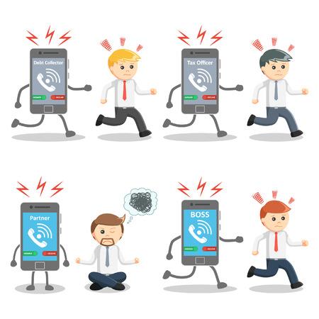 phone calls: businessman with disturbed phone calls set Illustration