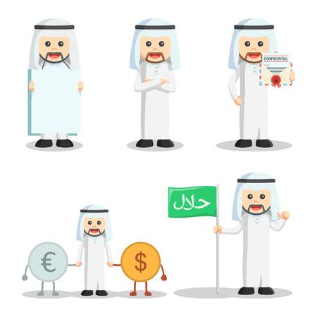 arabic currency: arabic man set illustration design