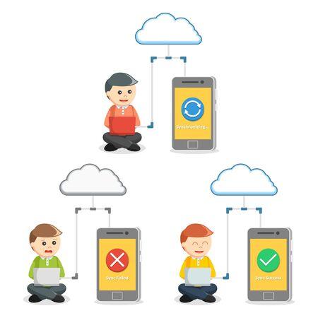 synchronization: smartphones synchronization set illustration design