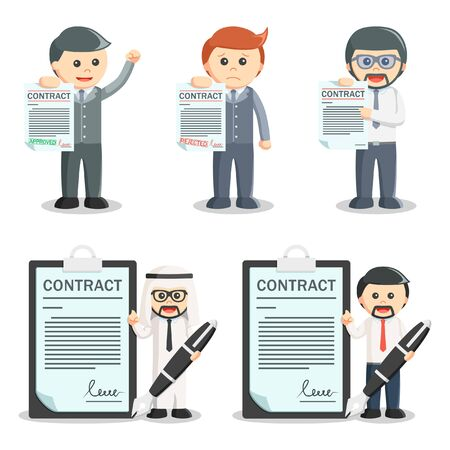 signing papers: businessman contract set illustration design