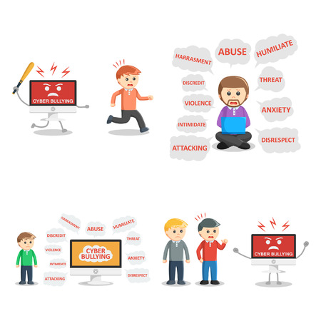 hysteria: cyber bullying people set Illustration