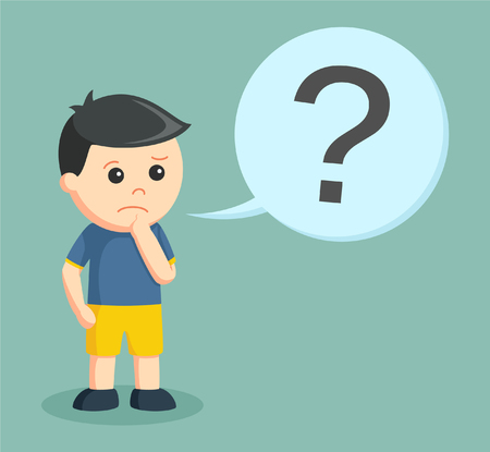 little boy confused with question mark callout Illustration