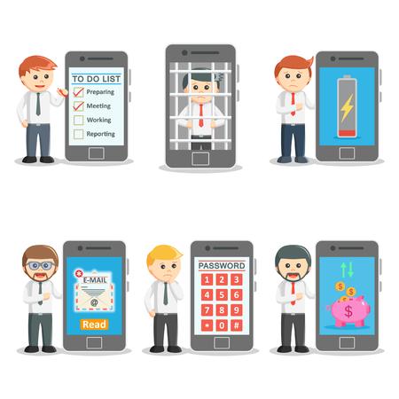 imprisoned person: businessman with smartphones set 2