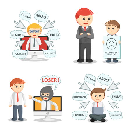 intimidate: businessman bullying set illustration design