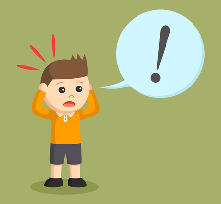 little boy shocked with exclamation mark callout Illustration