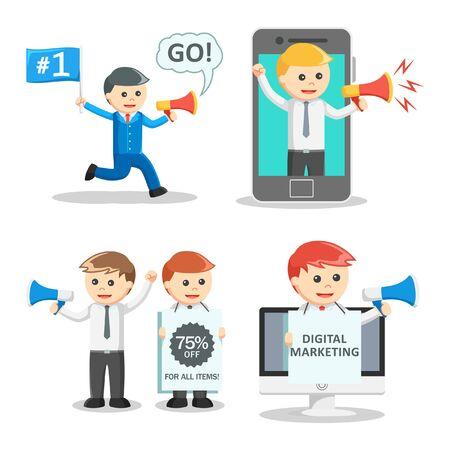 promoter: businessman promoter set illustration design