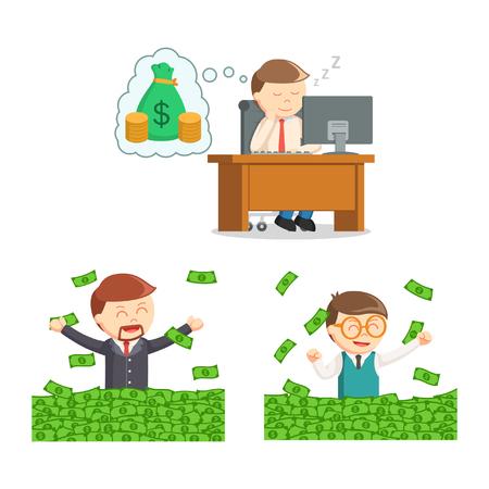 businessman and money set Illustration