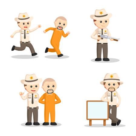 chased: sheriff officer set illustration design