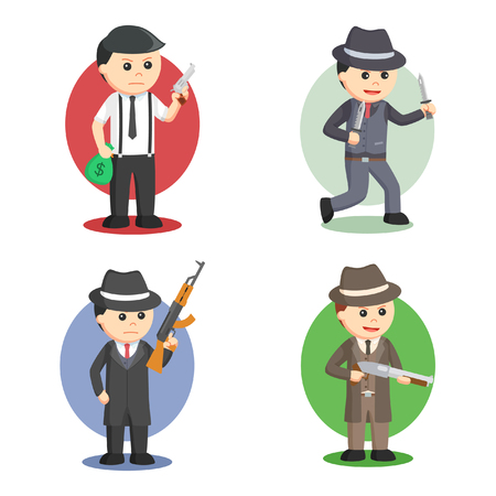 mafia people set illustration design