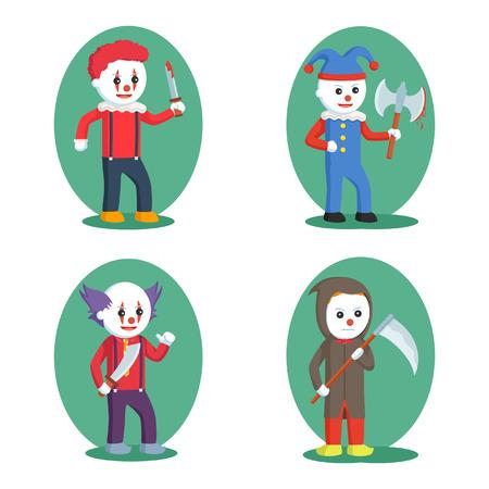 Evil clown: evil clown set illustration design