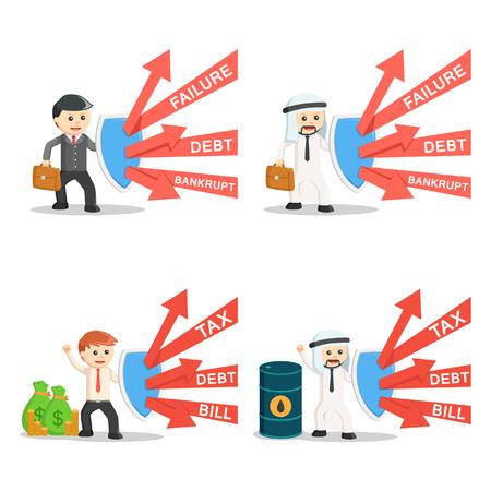 business people and shield set Vektorové ilustrace