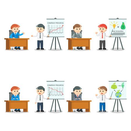 decreased: businessman presentation set illustration design Illustration