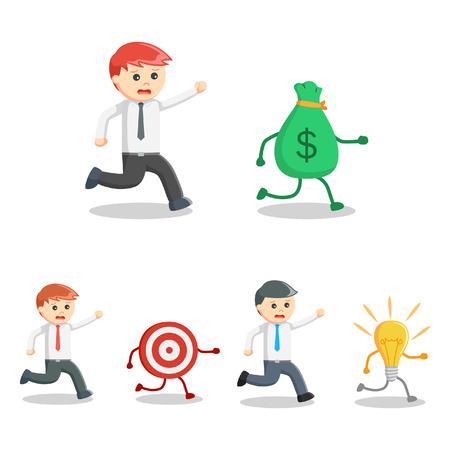 pursuit: businessman pursuit set illustration design