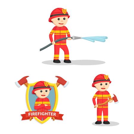 firefighter set illustration design