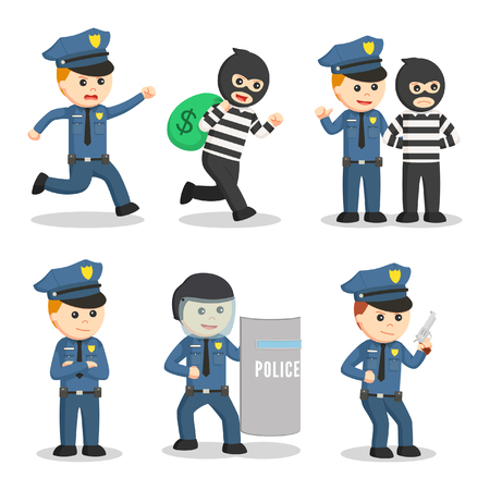 police officer set illustration design Çizim