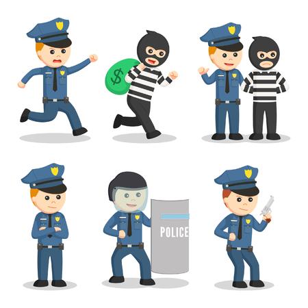 Politieagent instellen illustratie ontwerp