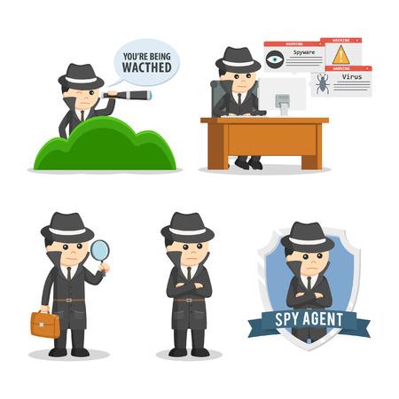 Espía agente conjunto ilustración diseño
