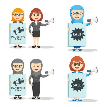 marketing team: business woman marketing team set Illustration