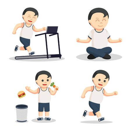 jogging: healthy fat man set