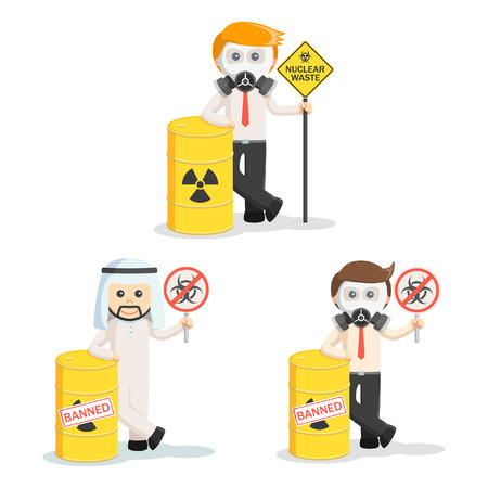 hazardous waste: business people and hazardous waste set Illustration