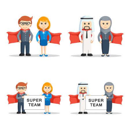 heros: super business people set