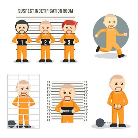 crime: prisoner set illustration design