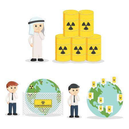 mundo contaminado: la gente de negocios y conjunto de residuos peligrosos Vectores