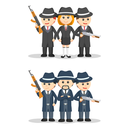 trespassing: mafia people set illustration design