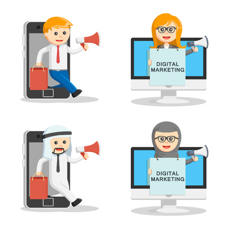 digital marketing: business people digital marketing set Illustration