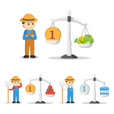 weight machine: farmer with balancing scale set Illustration