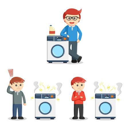 wash machine: people with wash machine set