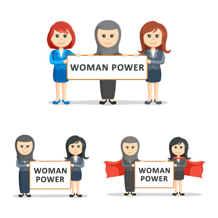 intimidation: businesswoman and woman power sign set