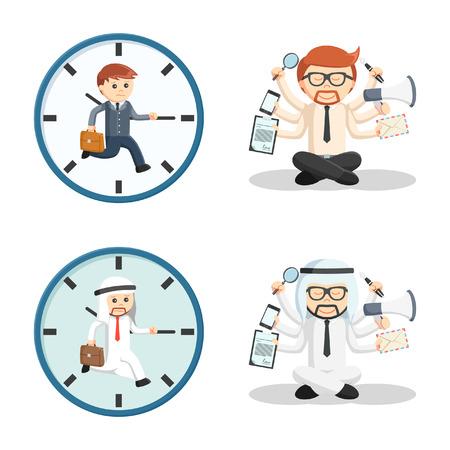 multitask: business people multitask set
