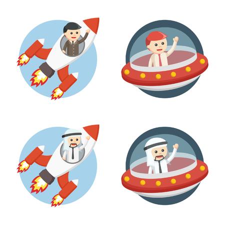businessman ride space ship set Illustration
