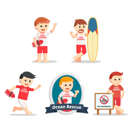 life guard stand: male lifeguard set illustration design Illustration