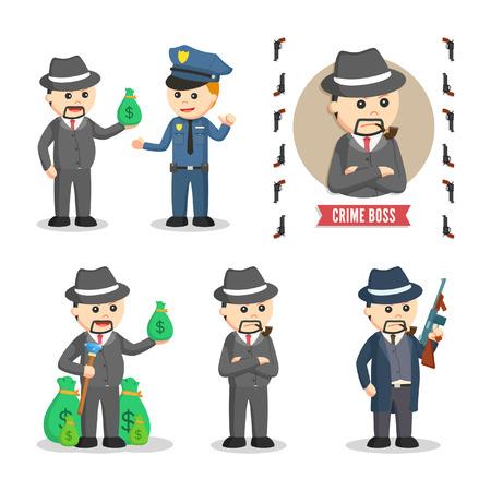 crime boss set illustration design Illustration