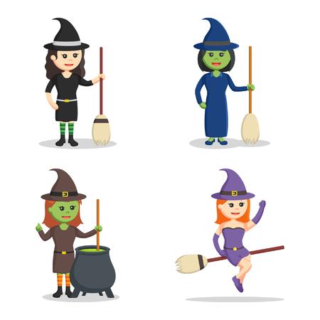 witch character set illustration design