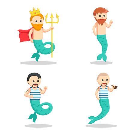mermaid man set illustration design Illustration