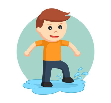 petit garçon jouant dans une flaque Vecteurs