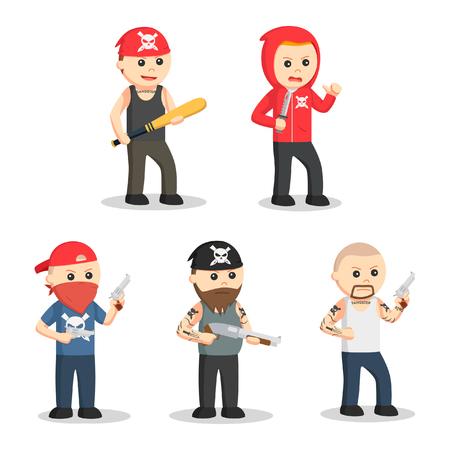 murderer: gangster people set illustration design