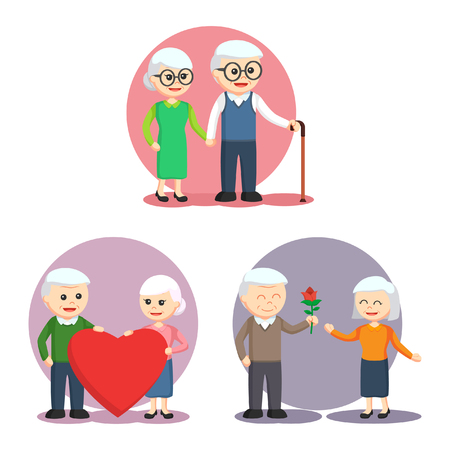happy mature couple: elderly couple set illustration design Illustration