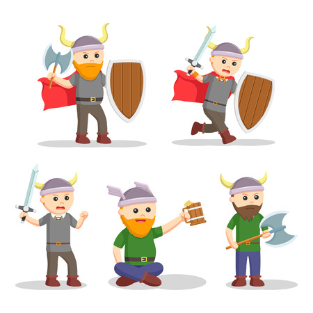 viking warrior set illustration design