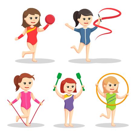 flexible girl: woman gymnastic set illustration design