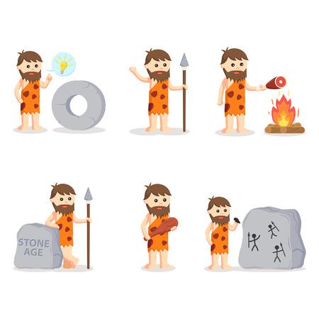 hombre prehistorico: conjunto de las cavernas, ilustración, diseño