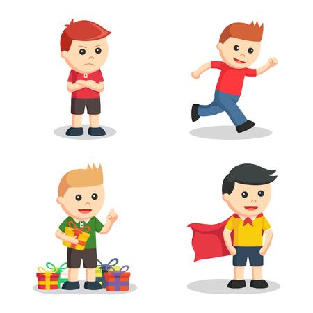 cranky: boy character set illustration design